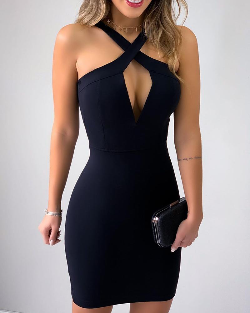 Crisscross Neck Bodycon Dress