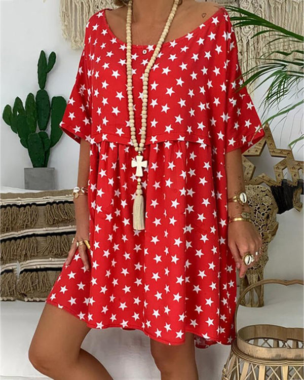 Stars Print Half Sleeve Casual Dress