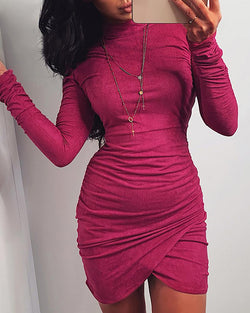 Solid Mock Neck Long Sleeve Ruched Bodycon Dress