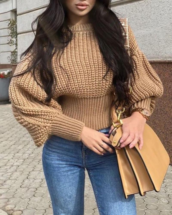 Lantern Sleeve Knit Casual Sweater