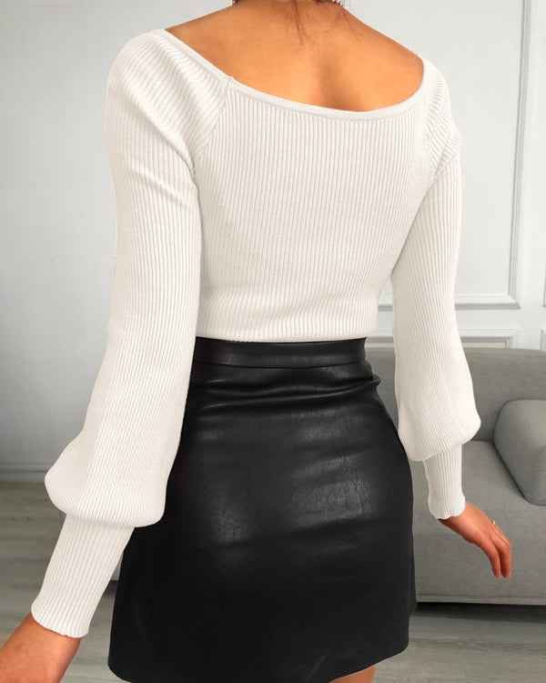 Plain Lantern Sleeve Knit Top