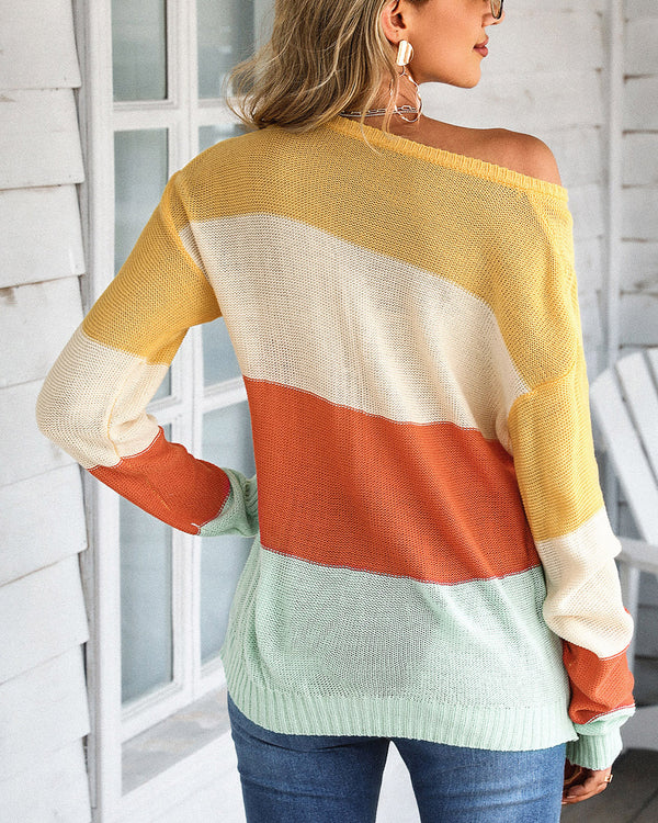 Colorblock Casual Knit Sweater