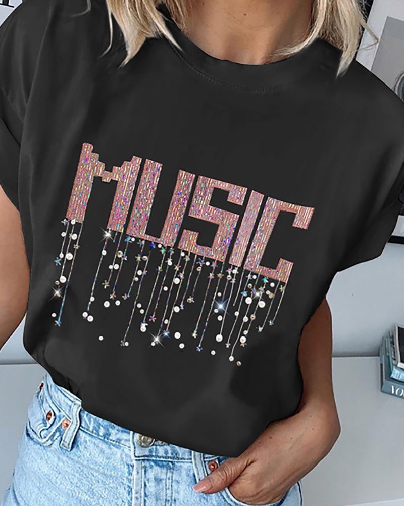 Sequins Letter Round Neck Casual T-shirt