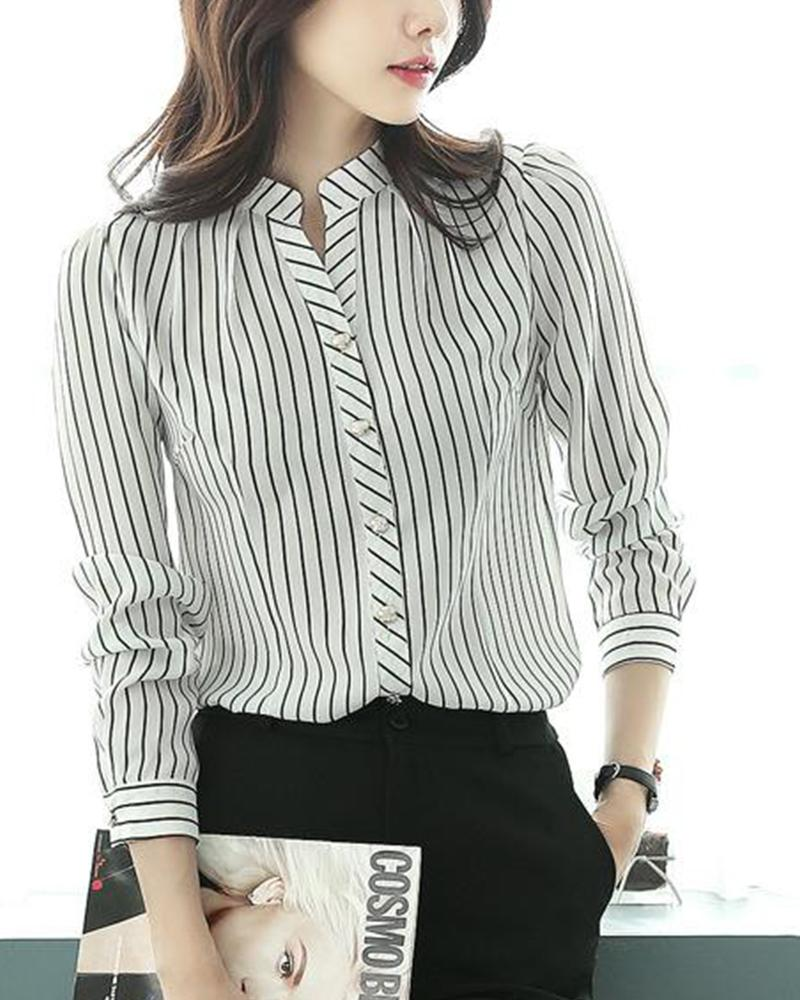 Striped Buton Detail Blouse