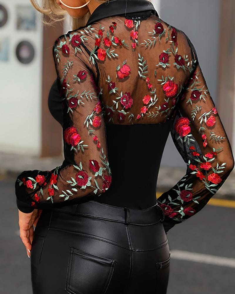 Sheer Mesh Floral Embroidery Shirt
