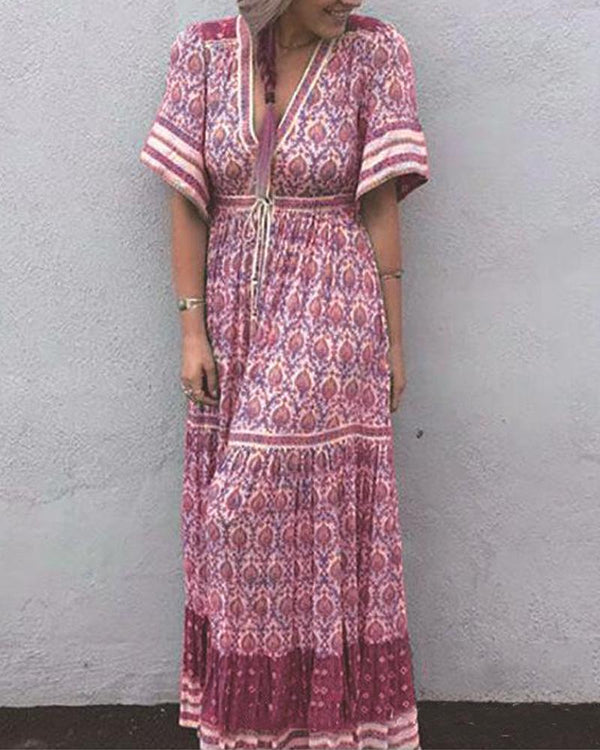 Floral Border Print Boho Maxi Dress