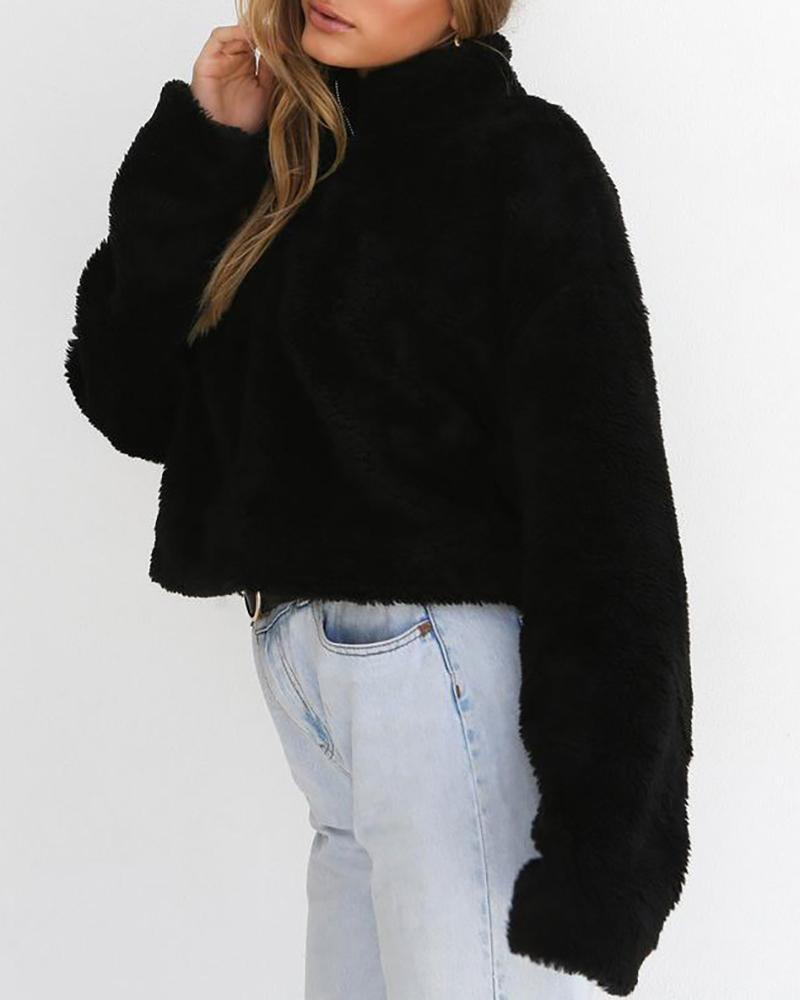 Solid Zipper Design Long Sleeve Fluffy Sweatshirt