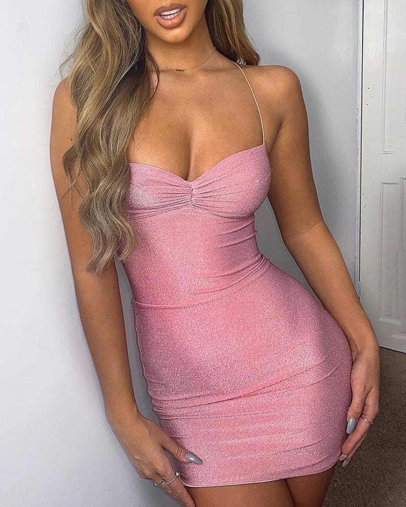 Glitter Spaghetti Strap Twisted Ruched Bodycon Dress