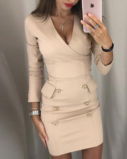 Button Design V-Neck Wrap Bodycon Dress