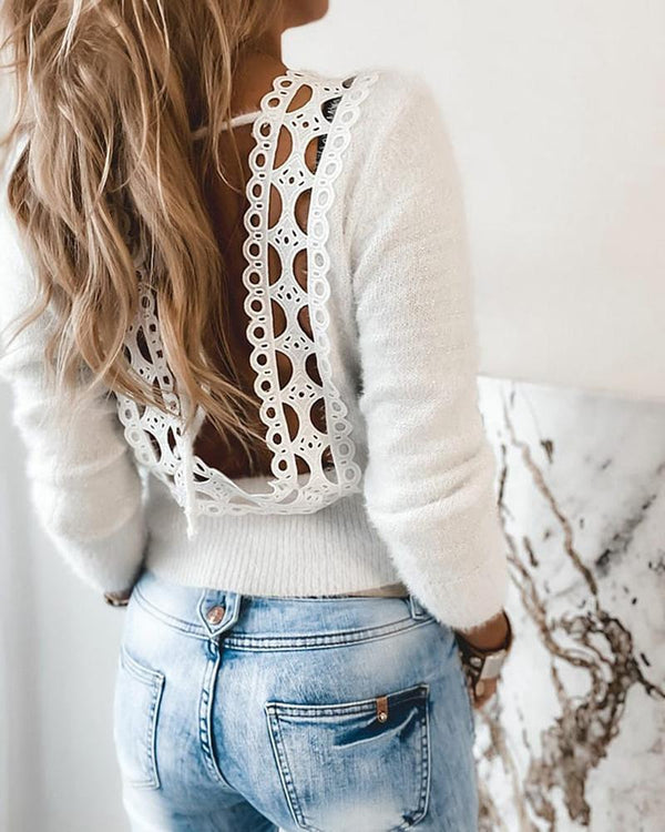 Fluffy Guipure Lace Backless Sweater