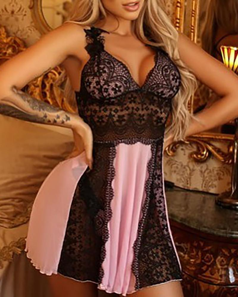 Lace Mesh Backless Babydoll With Cardigan