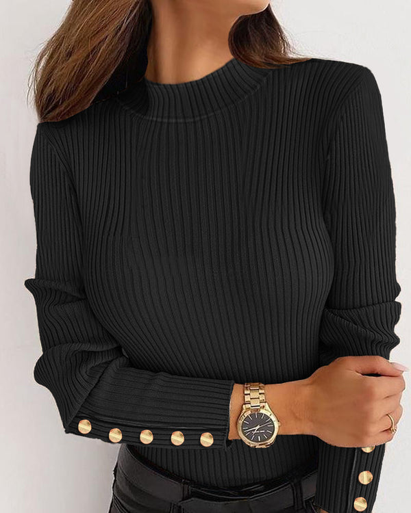 Buttoned Design Plain Long Sleeve Sweater
