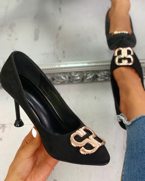 Suede Metal Detail Thin Heels