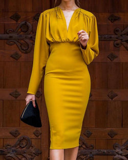 Ruched Design Long Sleeve Midi Dress