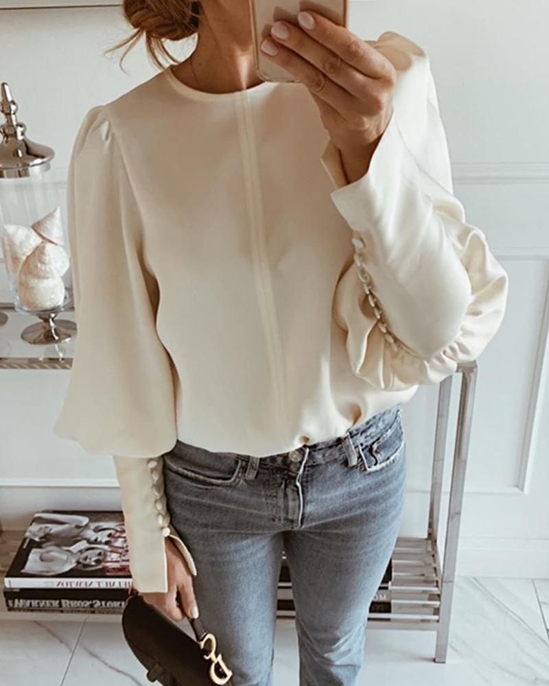 Solid Round Neck Balloon Sleeve Blouse