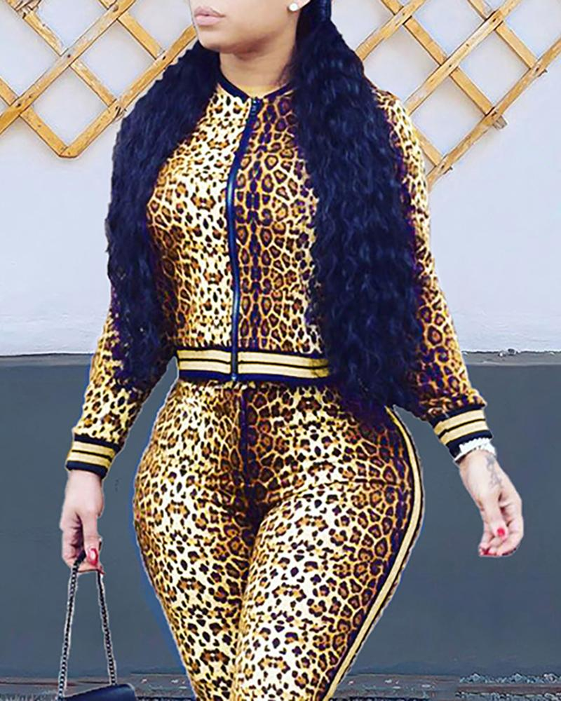 Leopard Zipper Design Striped Cuff Jacket & Pants Sets