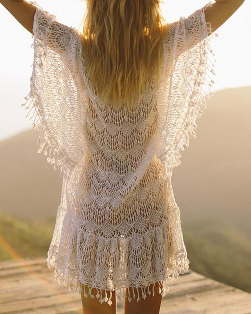 Crochet Lace Beach Cover Up Dress