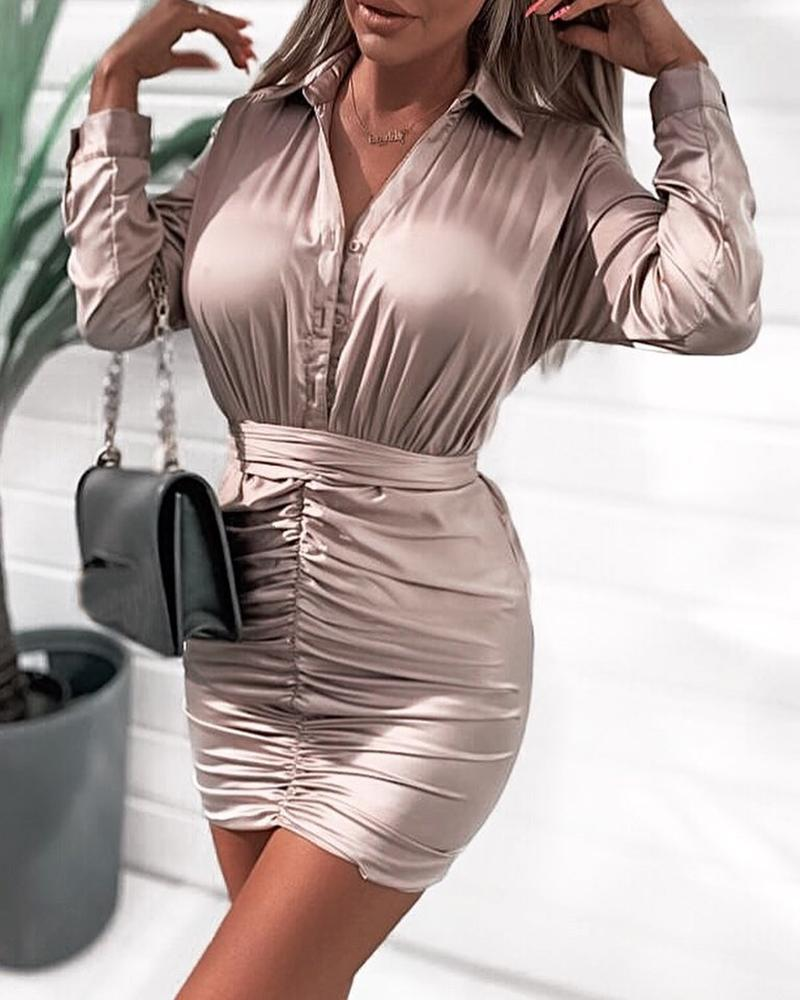 Solid Buttoned Tight Waist Ruched Dress