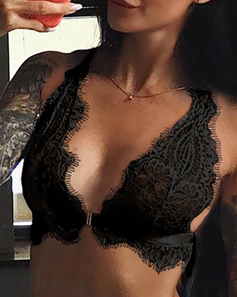 Solid Eyelash Lace Lingerie Sets