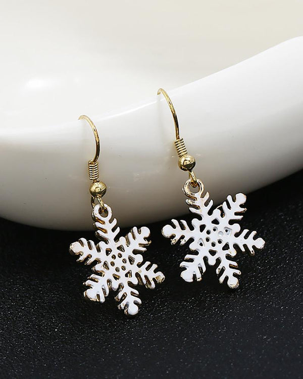Christmas Snowflake Pattern Drop Earrings
