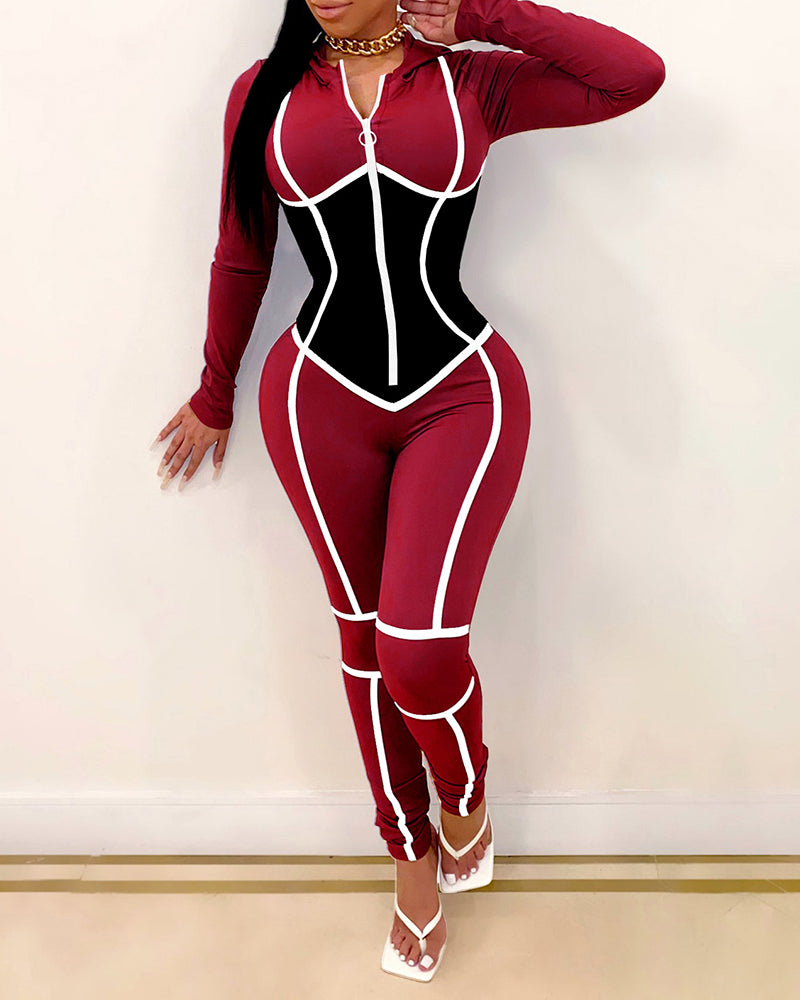 Colorblock Zipper Design Long Sleeve Skinny Jumpsuit