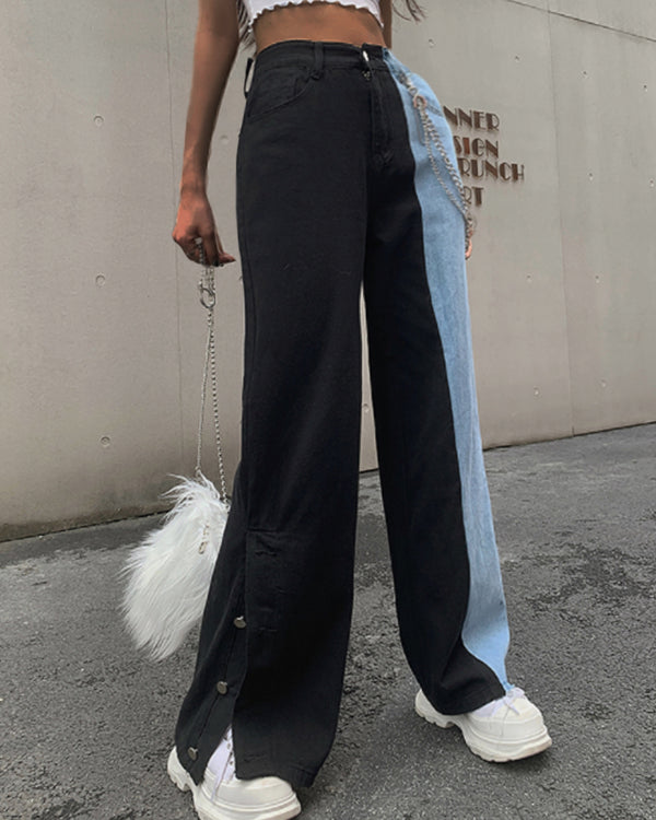 Colorblock Buttoned Slit Denim Pants