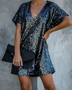 Glitter V-Neck Short Sleeve Sequins Dress