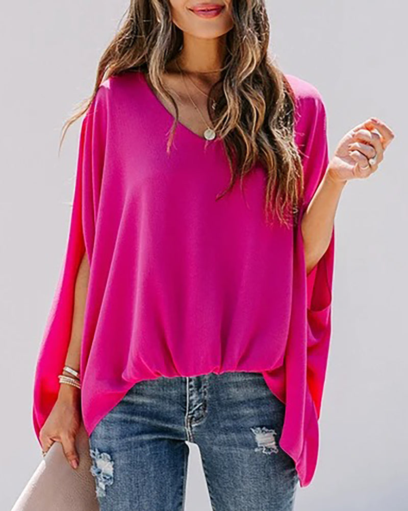 Ruched Bat Sleeve Casual Top
