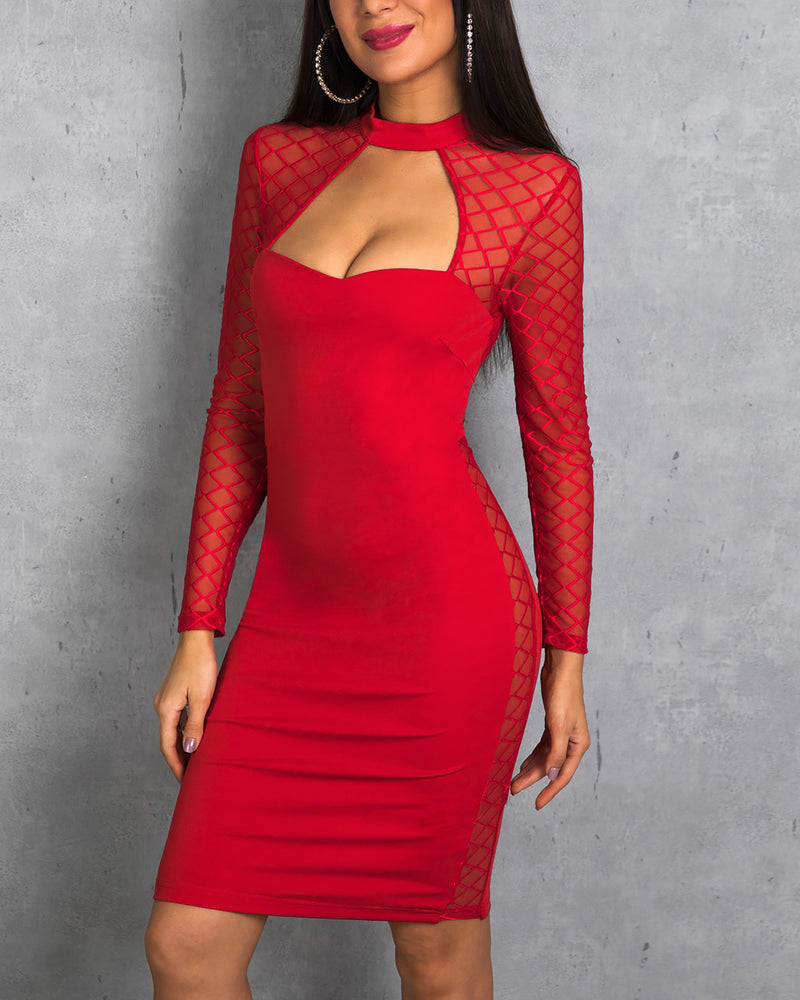 Cutout Grid Mesh Insert Bodycon Dress