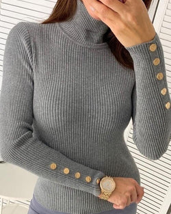 Solid Long Sleeve Buttoned Detail Sweater