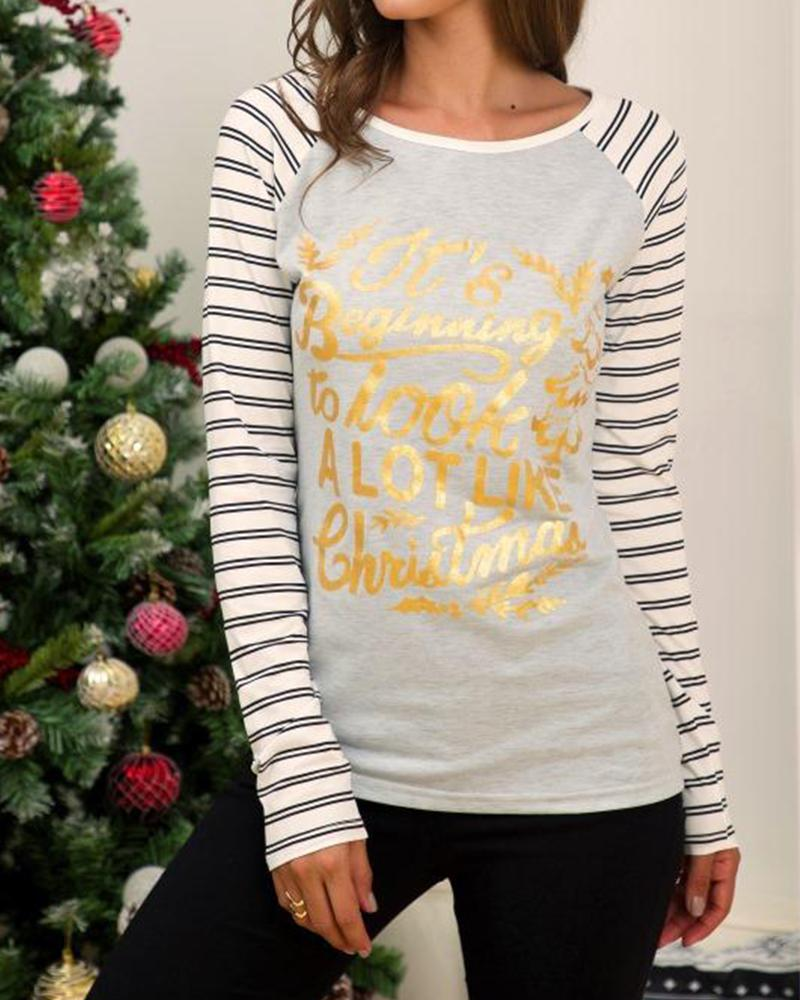 Long Striped Sleeve Holiday Top