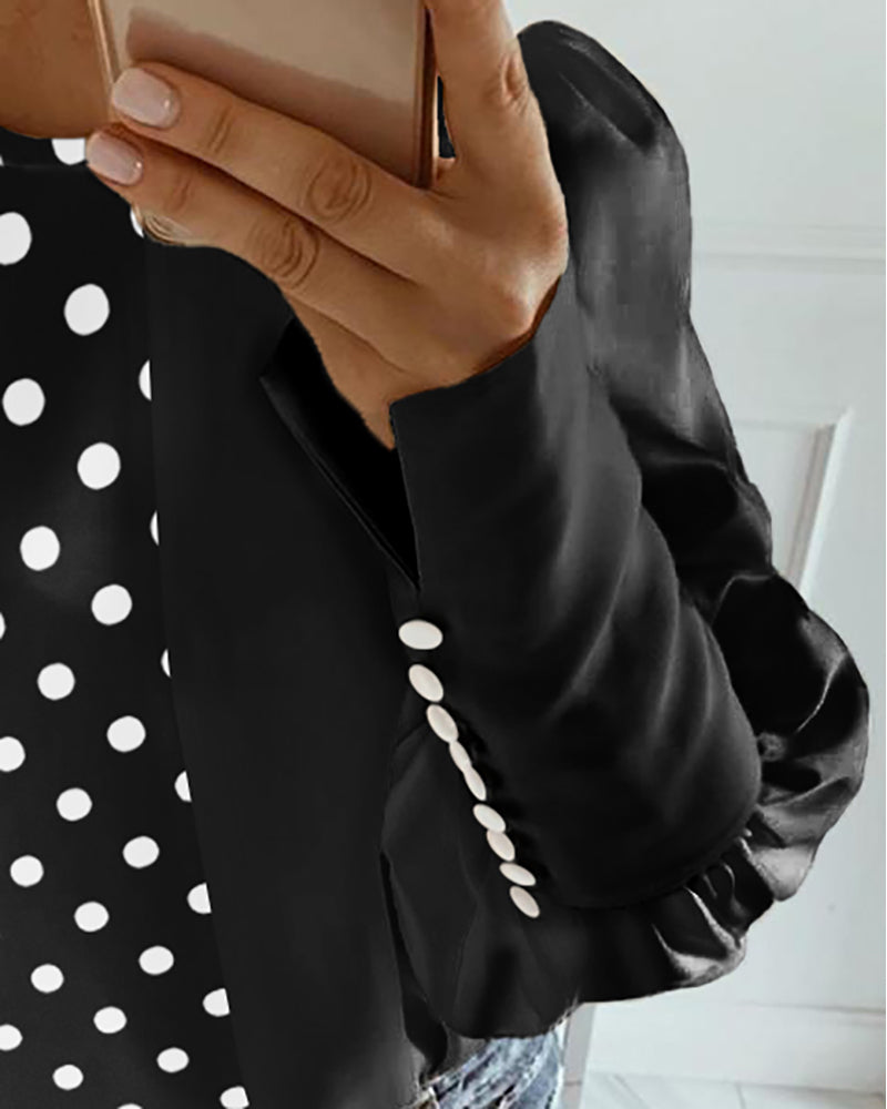 Polka Dot Colorblock Insert Lantern Sleeve Blouse