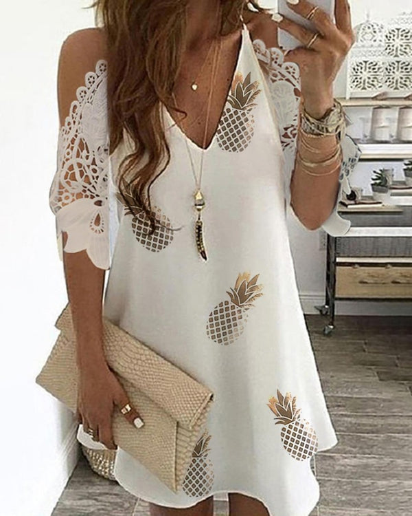 Pineapple Print Cold Shoulder Crochet Lace Dress