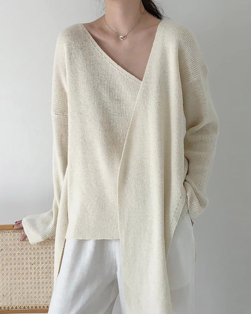Long Sleeve Knotted Casual Sweater