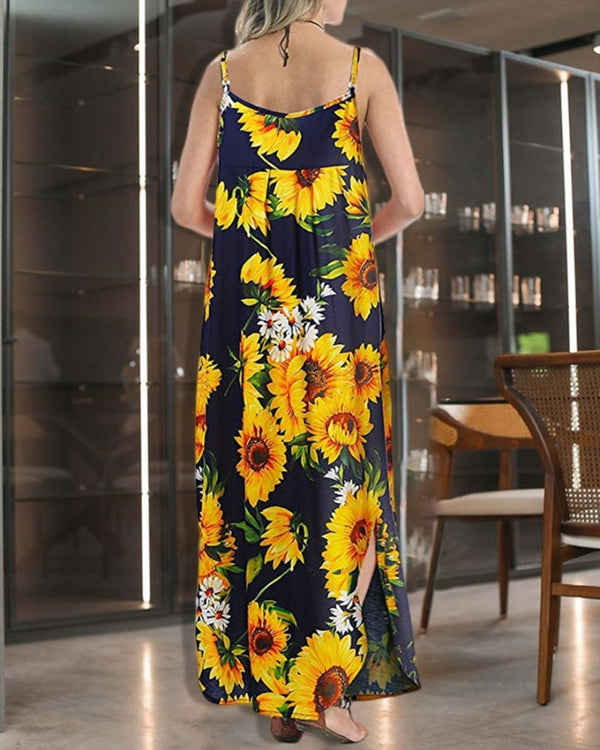 Spaghetti Strap Sunflower Print Slit Maxi Dress