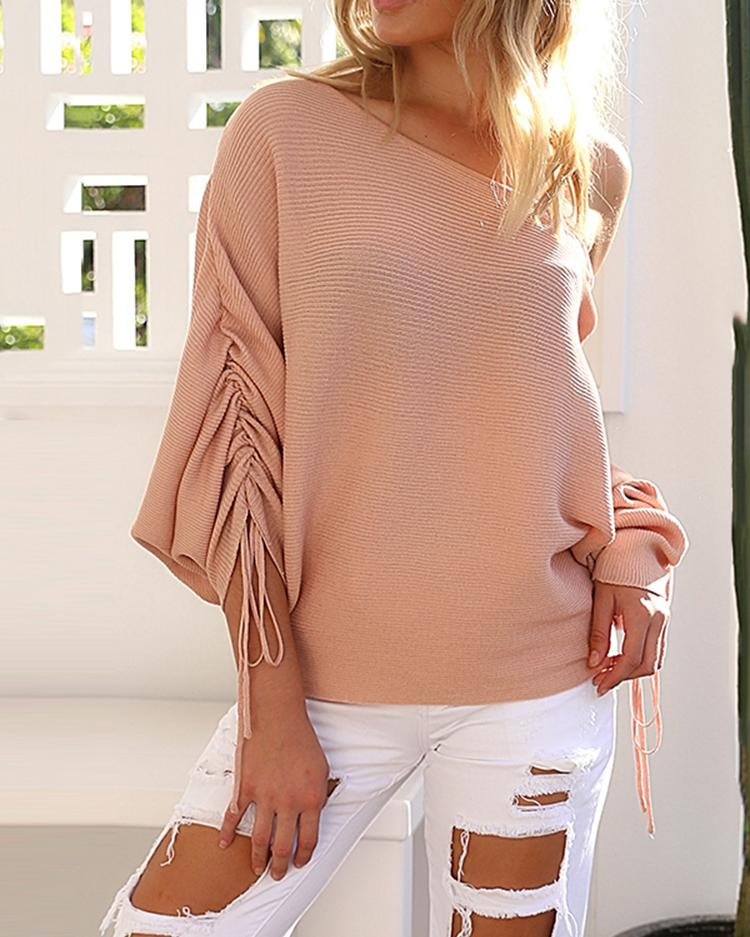 Stylish One Shoulder Ruched Casual Sweater