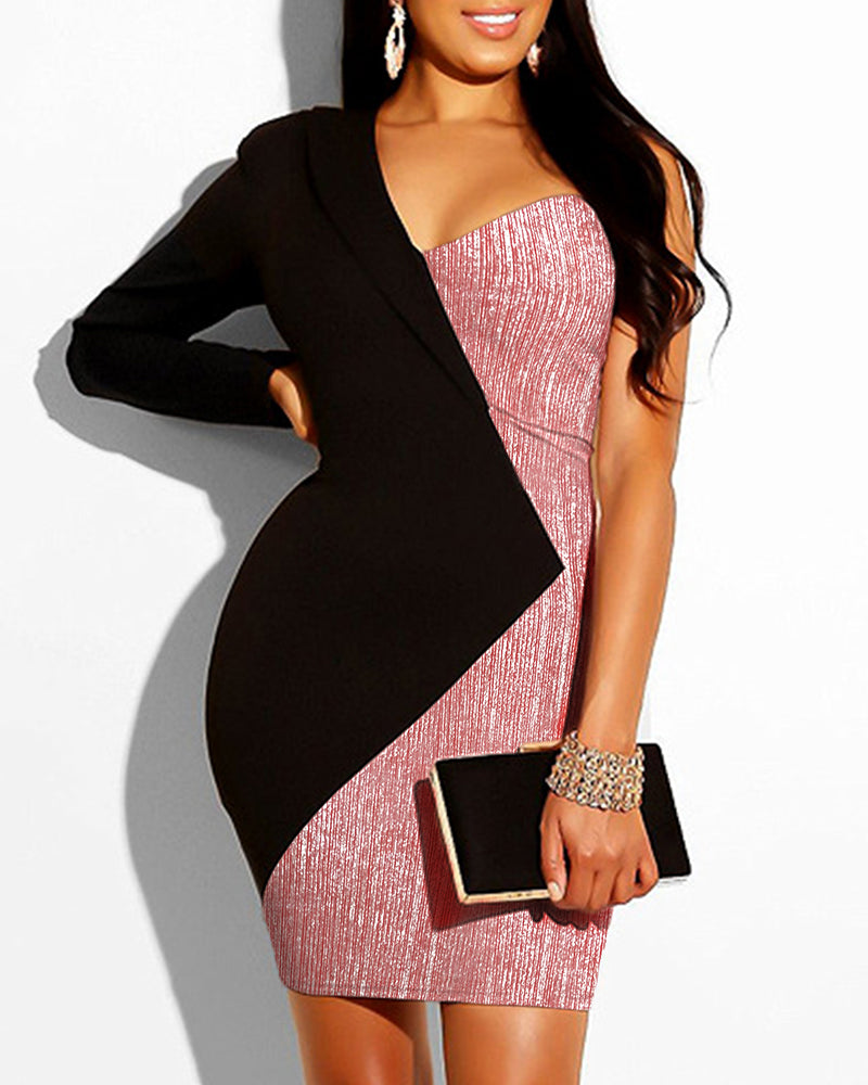Glitter One Shoulder Colorblock Blazer Dress