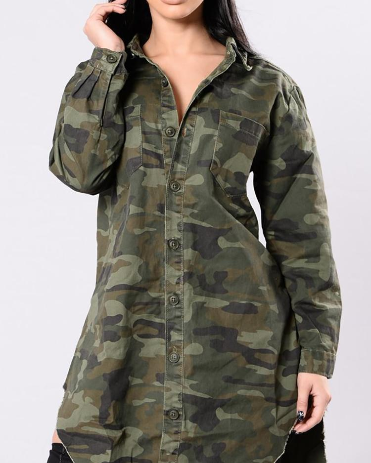 Irregular Camouflage Front Button Casual Shirt