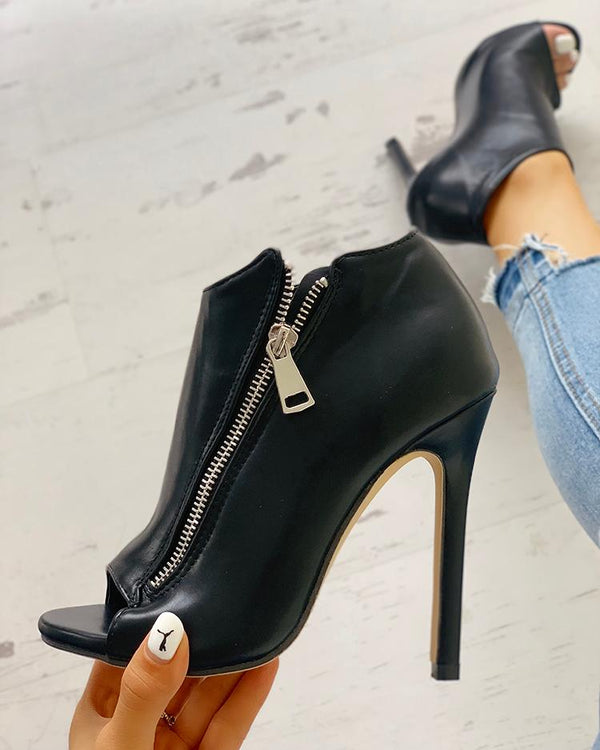 Zip Design Peep Toe Thin Heeled Boots
