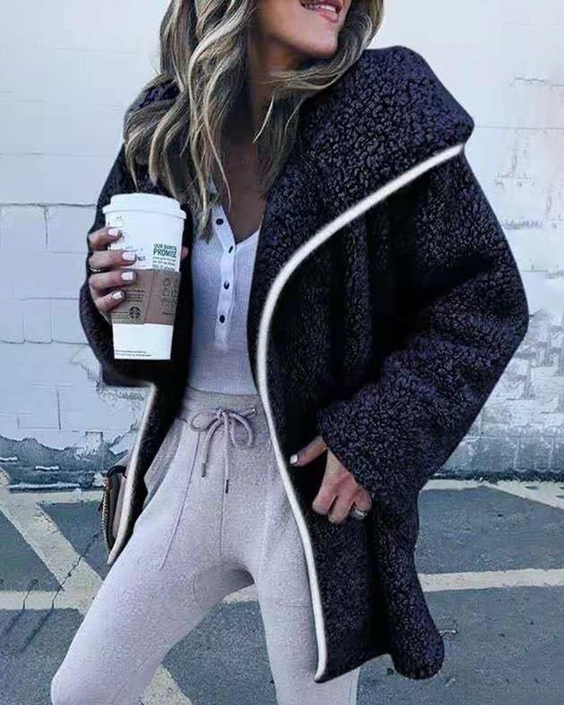 Waterfall Collar Long Sleeve Casual Fluffy Coat
