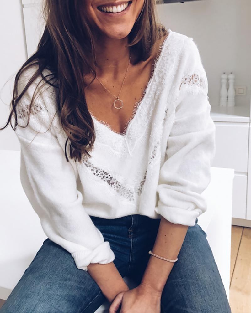 Solid Lace Hollow Out Detail Sweater