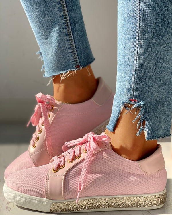 Glitter  Eyelet Lace-up Flat Sneakers