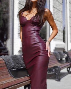 PU Slit Back Spaghetti Strap Bodycon Dress