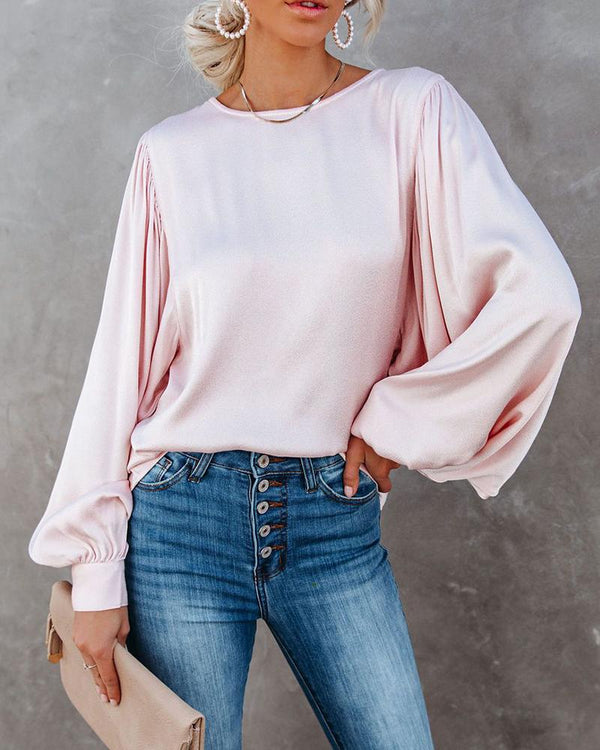 Solid Bloomer Sleeve Loose Blouse