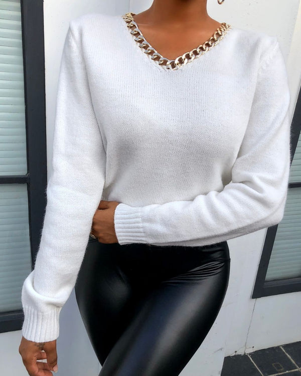 Chain Strap Long Sleeve Sweater