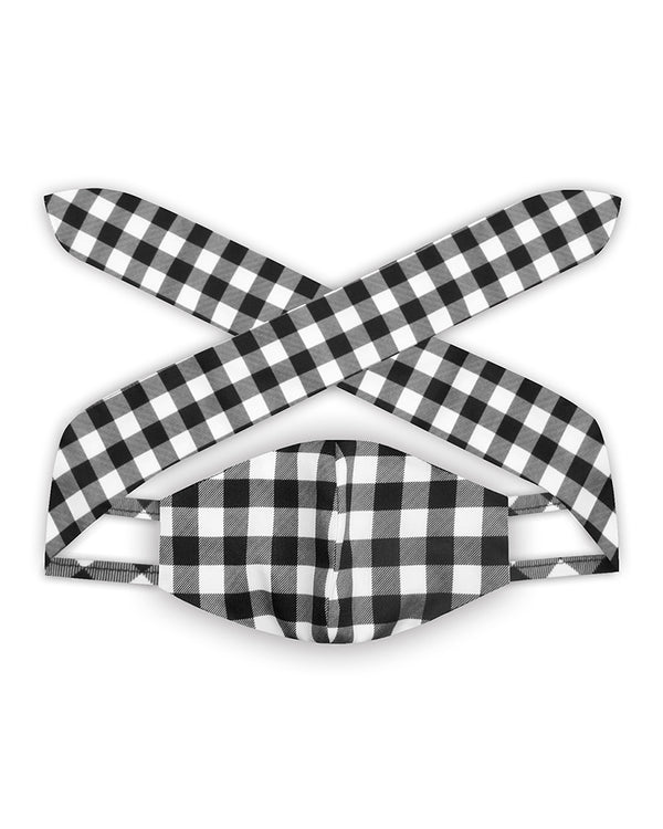 Plaid Print Hairband Face Mask