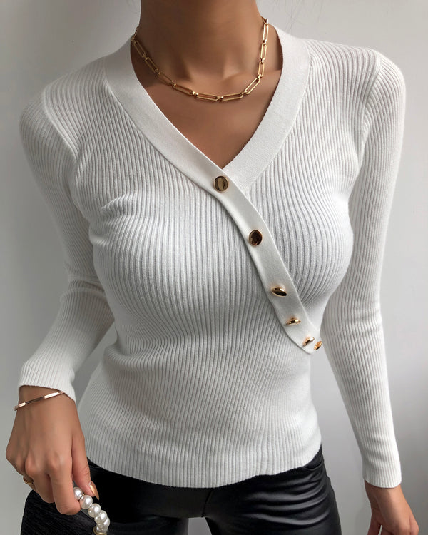 Button Design Long Sleeve Casual Knit Top