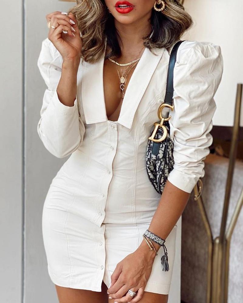 Solid Bodycon Puff Sleeve Dress