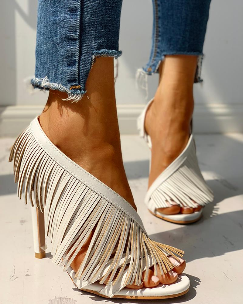 Solid Tassels Design Thin Heeled Sandals