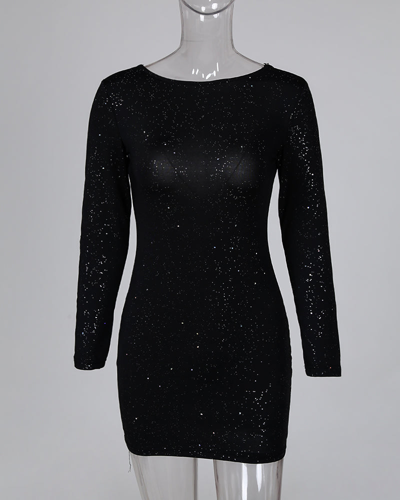 Glitter Open Back Crisscross Long Sleeve Bodycon Dress